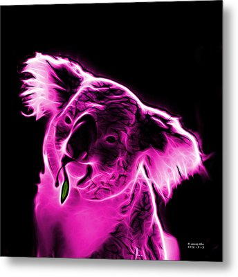 Koala Pop Art - Magenta Metal Print