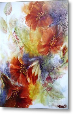 Metal Print featuring the ceramic art La Bignonia Rossa by Kathleen Pio
