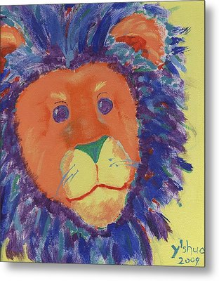 Metal Print featuring the painting Lion by Yshua The Painter