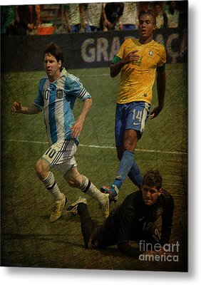 Lionel Messi Breaking Raphael Cabrals Ankles II Metal Print by Lee Dos Santos