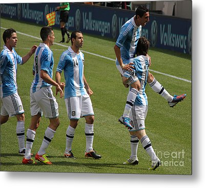 Lionel Messi The Hug Metal Print by Lee Dos Santos