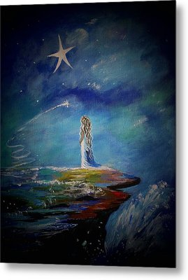 Little Wishes By The Sea Metal Print by Leslie Allen
