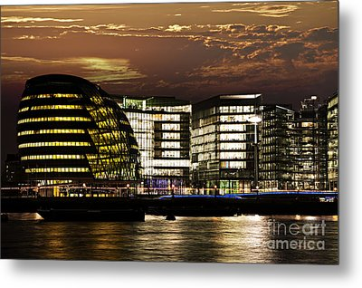 London City Hall At Night Metal Print by Elena Elisseeva