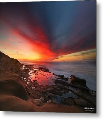 Long Exposure Sunset In La Jolla Metal Print by Larry Marshall