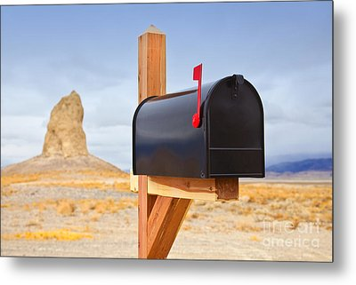 Mailbox In Desert Metal Print by David Buffington