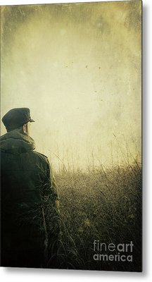 Man Alone In Autumn Field Metal Print by Sandra Cunningham