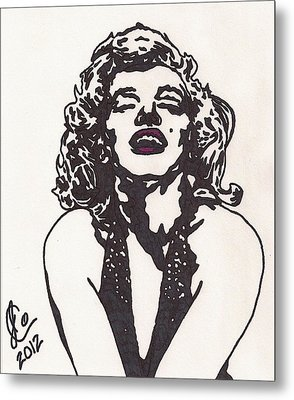 Metal Print featuring the drawing Marilyn Monroe by Jeremiah Colley
