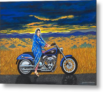 Mary And The Motorcycle Metal Print by James Roderick