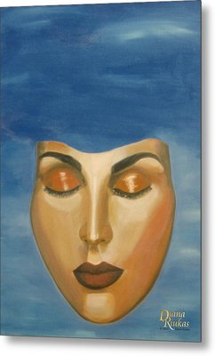 Metal Print featuring the painting Mask by Diana Riukas
