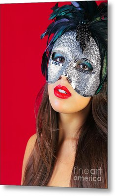 Masquerade Mask Red Background Metal Print by Richard Thomas