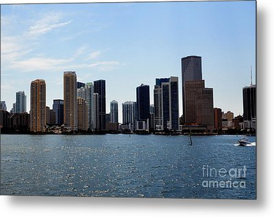 Metal Print featuring the photograph Miami Skyline by Pravine Chester