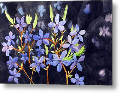Metal Print featuring the painting Midnight Blue by Debi Singer