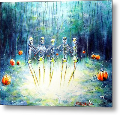 Midnight Pumpkin Ring Metal Print by Heather Calderon