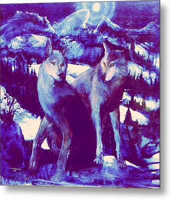 Midnight Wolves Metal Print