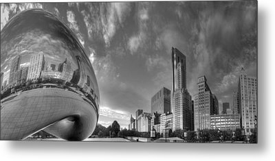 Millennium Park In Black And White Metal Print by Twenty Two North Photography