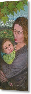 Mother And Child Metal Print by Shafiq-ur- Rehman