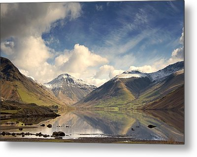 Mountains And Lake At Lake District Metal Print by John Short