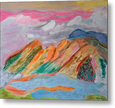 Metal Print featuring the painting Mountains In The Clouds by Meryl Goudey