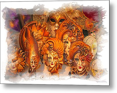 Music Masks Metal Print