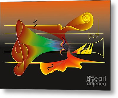 Metal Print featuring the digital art Musica Nocturna by Leo Symon