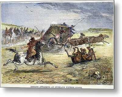 Native American Attack On Coach Metal Print by Granger