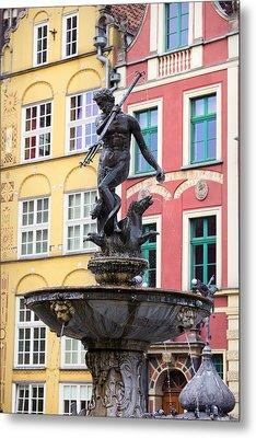 Neptune Fountain In Gdansk Metal Print by Artur Bogacki