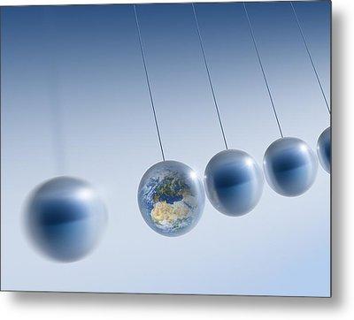 Newtonian Earth, Conceptual Artwork Metal Print by Detlev Van Ravenswaay