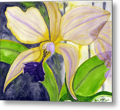 Metal Print featuring the painting No Ordinary Orchid by Debi Singer
