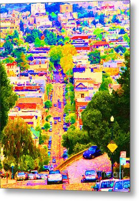 Noe Street In San Francisco 2 Metal Print by Wingsdomain Art and Photography