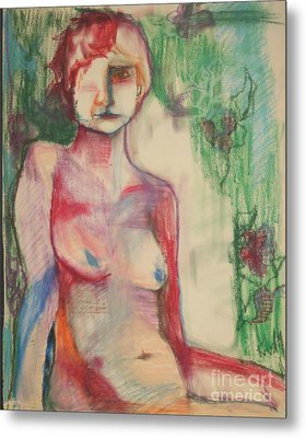 Nude Woman In Reds And Greens Metal Print