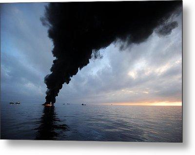 Oil Spill Burning, Usa Metal Print by U.s. Coast Guard