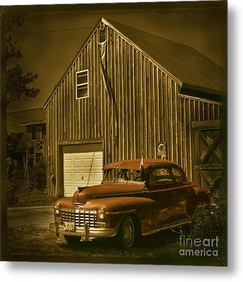 Old Car Old Barn Metal Print by Jim Wright