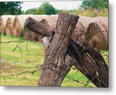 Old Cross Fence Metal Print by Lisa Moore