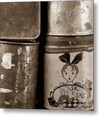 Old Fashioned Iron Boxes. Metal Print