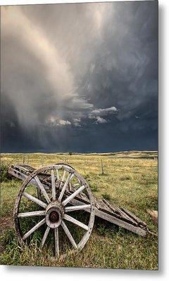 Old Prairie Wheel Cart Saskatchewan Metal Print by Mark Duffy