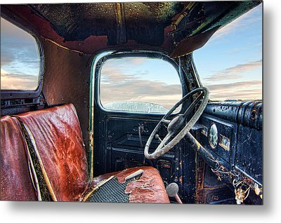 Old Truck Interior Metal Print by Tim Fleming