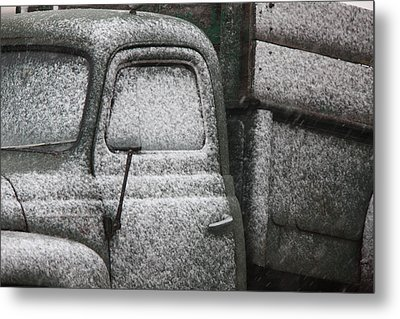 Old Vintage Truck In Winter Storm Saskatchewan Metal Print