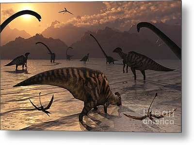 Omeisaurus And Parasaurolphus Dinosaurs Metal Print by Mark Stevenson