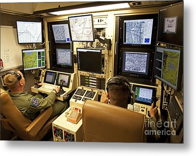 Operators Control Uavs From A Ground Metal Print