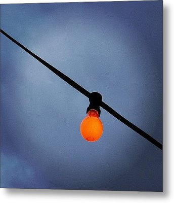 Orange Light Bulb Metal Print
