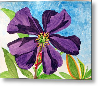 Metal Print featuring the painting Our Very Bold Tibouchina by Debi Singer