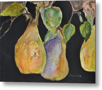 Pears On The Vine Metal Print
