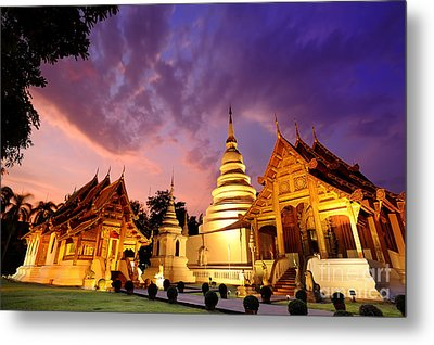 Phra Singh Temple Twilight Time Metal Print by Panupong Roopyai