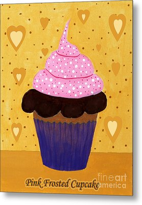 Pink Frosted Cupcake Metal Print by Barbara Griffin