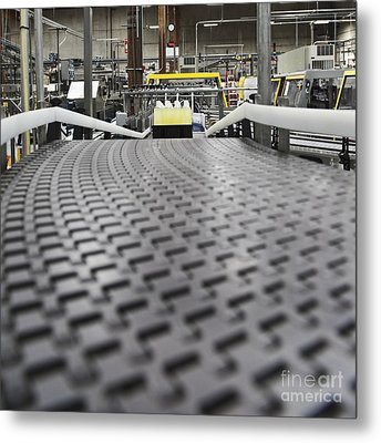 Plastic Bottles Of Yellow Liquid Metal Print by Jetta Productions, Inc
