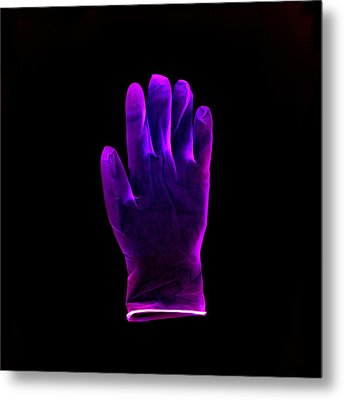 Plastic Glove, Negative Image Metal Print by Kevin Curtis