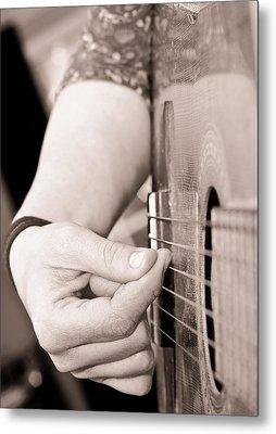 Playing Guitar Metal Print by Tom Gowanlock