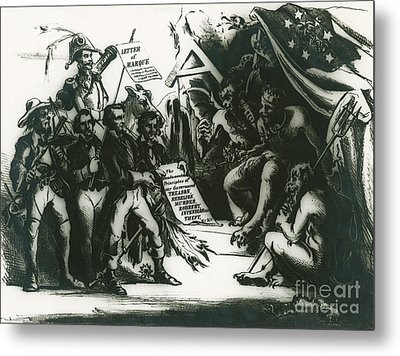 Political Cartoon Of The Confederacy Metal Print by Photo Researchers