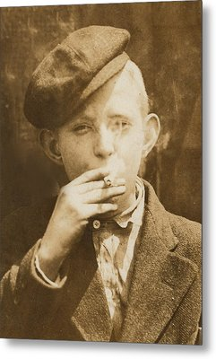 Portrait Of A Boy Smoking, Original Metal Print by Everett