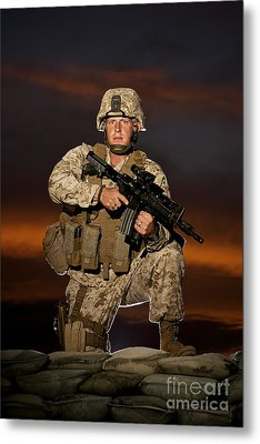 Portrait Of A U.s. Marine In Uniform Metal Print by Terry Moore